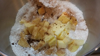 The flour, sugar, butter and spices all in one bowl